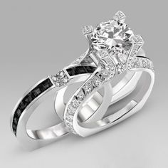 Brilliant Cut Black Diamond Two-in-One Sterling Silver  Engagement Ring / Bridal Ring Set