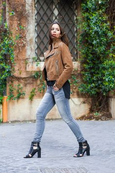 A Diesel suede jacket and jeans with some Zara heels for a daytime causal look