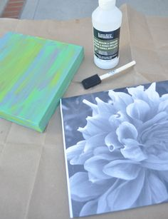 another photo transfer idea, but on top of a painted canvas, and then add a little paint to top it off, if you like