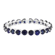 14K WHITE GOLD BLUE SAPPHIRE STACK STACKABLE WEDDING BAND ETERNITY RING 4 5 6 7 #WithGemstones