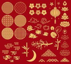 Chinese new year elements. Festive asian ornaments, patterns in oriental style. Clouds, moon and bamboo, sakura and lotus flower vector golden asia decoration set , Oriental Design, Oriental Pattern, Oriental Style, Asian Design, Japanese Design, Chinese New Year, Chinese Art, Chinese Dragon, Chinese Ornament