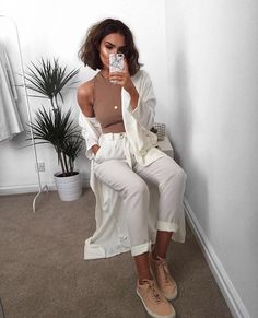 @lissyroddy in Ivory Duster and Jan Pant