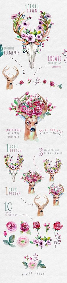 Deer, skull & floral - Illustrations  Like  Save Deer, skull & floral - Illustrations - 1 Deer, skull & floral - Illustrations - 2 This set of high quality hand-painted watercolor set. Perfect graphic for DIY, wedding invitations, greeting cards, quotes, blogs, posters and more. #ad