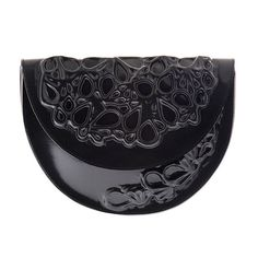 Classic black clutch bag round black purse elegant by MeDusaBrand, $90.00