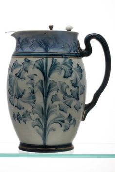 Macintyre Florian Ware Water Jug in the Seaweed Pattern, with Pewter Lid.