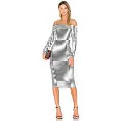 DEREK LAM 10 CROSBY Long Sleeve Off The Shoulder Midi Dress ($375) ❤ liked on Polyvore featuring dresses, striped dress, white long sleeve dress, stripe dresses, white midi dress and white off shoulder dress