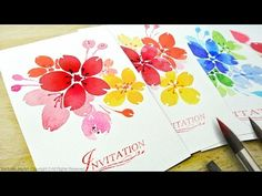 Watercolor Floral Invitations / DIY Handmade Cards - Level 2 - YouTube
