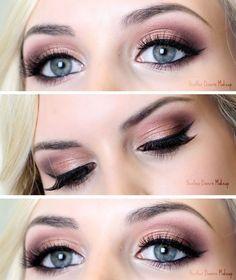 Rose Gold Light Smokey Eye With Black Liner