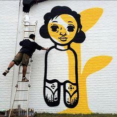Speto at work, Brazil, Mural Cafe, Art Room Doors, Grafitti Street, Building Painting, School Murals, Graffiti Murals, Found Art, Mellow Yellow, Street Artists
