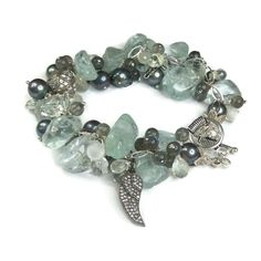 Aquamarine & Pearl Cluster Bracelet In Sterling Silver