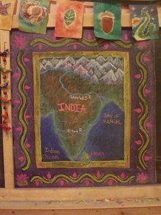 Waldorf ~ 5th grade ~ Ancient India ~ Map ~ chalkboard drawing