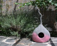 Cat Cave Felted Pink, 100% wool, hand-made in Italy WoolyCatCaves su Etsy