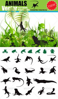 Vector Animals Silhouette Set  #GraphicRiver         Vector Animals Silhouette Set ,different different types and species, include jungle theme .Easy to edit Clean animals silhouettes     Created: 2January12 GraphicsFilesIncluded: JPGImage #VectorEPS #AIIllustrator Layered: No MinimumAdobeCSVersion: CS