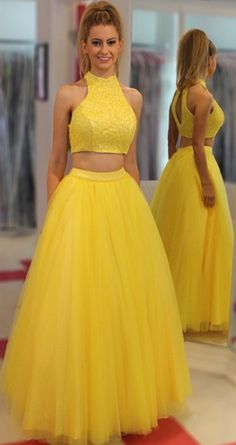 Prom Dress Beautiful, Two Piece Jewel Floor-Length Open Back Yellow Prom Dress with Beading, Discover your dream prom dress. Our collection features affordable prom dresses, chiffon prom gowns, sexy formal gowns and more. Find your 2020 prom dress Prom Dresses Two Piece, A Line Prom Dresses, Tulle Prom Dress, Cheap Prom Dresses, Wedding Party Dresses, Homecoming Dresses, Evening Dresses, Long Dresses, Prom Gowns