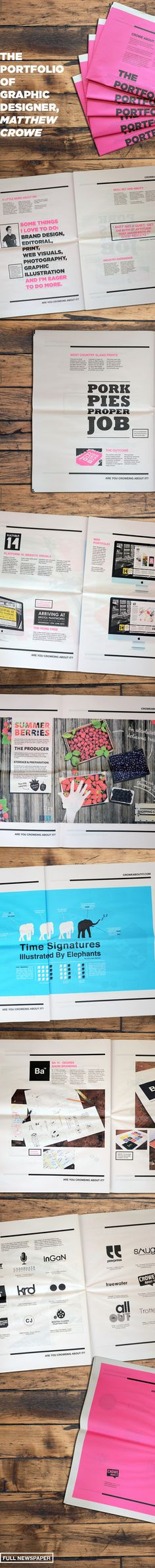 Newspaper Portfolio - Crowe About It by Matthew Crowe, via Behance