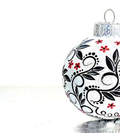 Black Red and White Christmas Ornament Hand by PearlesPainting, $22.50