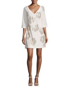 Glitterati+3/4-Sleeve+Floral+Silk+Mini+Dress+by+Trina+Turk+at+Neiman+Marcus.