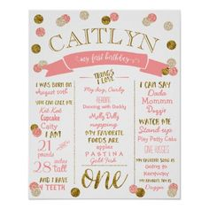 1st Birthday-Pink and Gold Glitter Poster