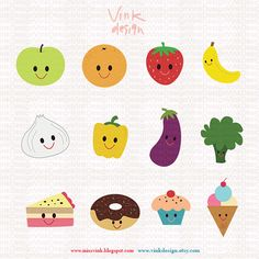 Digital Clip Art For Commercial and Personal Use Art Craft and Design Projects - Some fruits Vegies and Sweets - Code : D13004