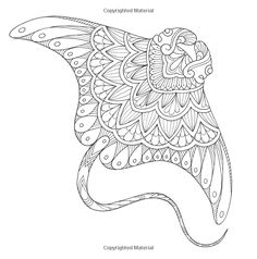 Animal Odyssey: Coloring from the Familiar to the Fantastic Detailed Coloring Pages, Mandala Coloring Pages, Coloring Book Pages, Coloring Sheets, Doodle Art Drawing, Line Drawing, Simple Tattoo With Meaning, Fish Coloring Page, Seashell Painting
