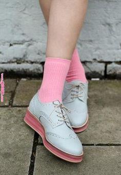 d5183d9811eb0 Leather Blue Grey Platform Brogues £60  womenswear  shoes  brogues