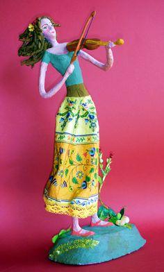 Beautiful papier mache figure of a violinist girl