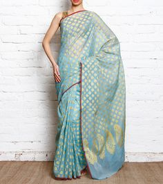Sky Blue Cotton Silk Banarasi Saree