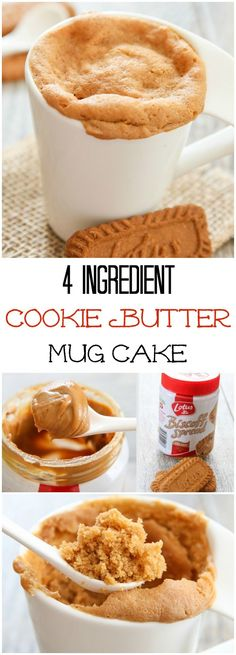4 Ingredient Cookie Butter Mug Cake. This single serving microwave cake is ready in 5 minutes! 4 Ingredient Cookie Butter Mug Cake. This single serving microwave cake is ready in 5 minutes! Mug Recipes, Sweet Recipes, Cake Recipes, Dessert Recipes, Cooking Recipes, Biscoff Recipes, Brownie Desserts, Just Desserts, Delicious Desserts