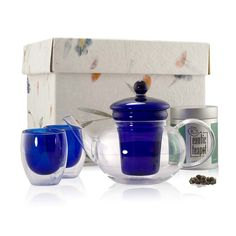 CURRENTLY ON SALE: Our Classic Blue Glass Set with a Green Tea of your choice