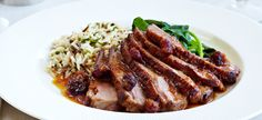 Pan Seared Duck Breast with Dried Cranberry Orange Reduction Recipes Menu Sans Gluten, Gluten Free Menu, Easy Delicious Recipes, Great Recipes, Yummy Food, Dried Berries, Dried Cranberries, Seared Duck Breast Recipe, Beef Stock Recipes