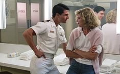 http://chicerman.com  casualboys:  Tom Cruise and Kelly McGillis in Top Gun 1986.  #menscasual