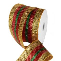Metallic Striped Deco Poly Mesh Ribbon  Gold Red Emerald Green 4 in width; 25 yards Craig Bachman Imports  Arriving Summer 2013