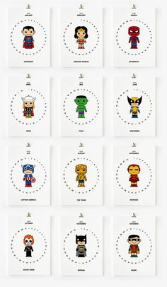 2012 Calendar Cute Superhero Printable PDF by loopzart on Etsy