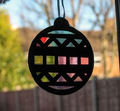 Christmas Ornament Sun Catchers - In The Playroom - Paper Quilling Designs Disney Stained Glass Ornaments, Stained Glass Birds, Paper Ornaments, Christmas Window Decorations, Christmas Tree Ornaments, Xmas, Snowman Ornaments, Mirror Mosaic, Mosaic Wall