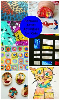 Art Activities for Kids inspired by famous artists including Mondrian, Klee, Kadinsky and more!