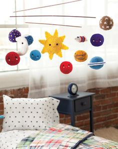 Solar system crochet mobile