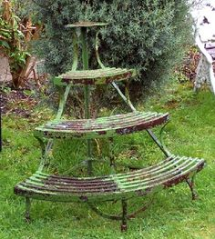 Antique iron demilune plant stand.