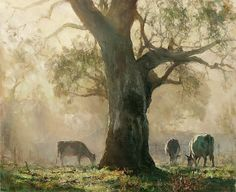 Oh What A Beautiful Morning! by John McCartin Oil ~ x Australian Painting, Australian Artists, Landscape Art, Landscape Paintings, Contemporary Landscape, Cow Painting, Cow Art, Animal Paintings, Dark Paintings