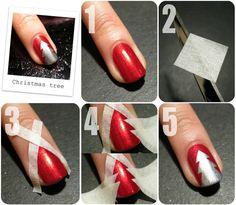 Xmas tree nail art.