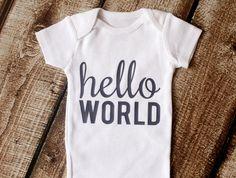 Newborn Onesie Newborn Outfit Hello World by pinkblossomdesignco