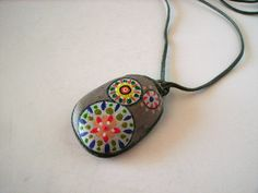 painted rock pendant by 부루주, via Flickr Rock Necklace, Rock Jewelry, Stone Jewelry, Pendant Necklace, Pebble Painting, Pebble Art, Stone Painting, Rock Painting, Stone Crafts