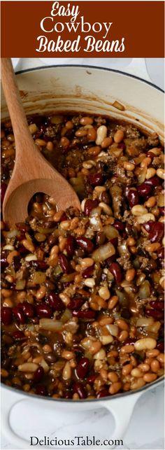Hamburger And Beans Recipe, Beans In Crockpot, Hobo Beans Recipe Slow Cooker, Smoked Beans Recipe, Dry Beans Recipe, Cowboy Baked Beans, Cowboy Beans, Easy Potluck Recipes, Side Dish Recipes