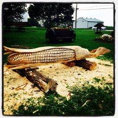 Corn Cobb Chainsaw carving by Paul Frenette