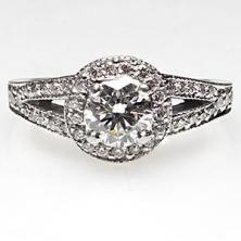 Estate Halo Diamond Engagement Ring Solid Platinum