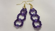 Tatted earring with beads - tatting jewelry purple by barbanta on Etsy