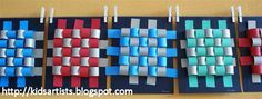 Made by students of grade 3  You need:   paper strips in two colours, 4 x about 50 cm  black cardbaord  scissors  glue  printed grid of 5 by...