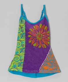 Look what I found on #zulily! Purple & Lime Bloom Dress - Girls by Rising International #zulilyfinds