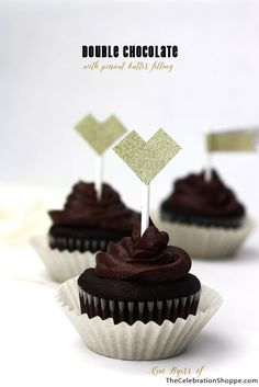 Double Chocolate Cupcakes with Peanut Butter Filling | Kim Byers, TheCelebrationShoppe.com #hearts #cupcakes