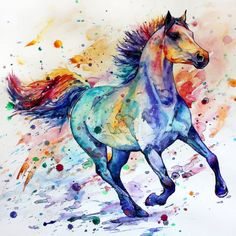 Home Decor Running Horse Colorful Art Print on Canvas Porch Watercolor Painting Horse Drawings, Animal Drawings, Art Drawings, Drawing Art, Painted Horses, Watercolor Horse, Watercolor Animals, Watercolor Artwork, Tattoo Watercolor