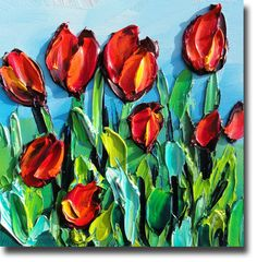 Tulip Painting Original Oil Painting ART B Sasik by bsasik, $99.00